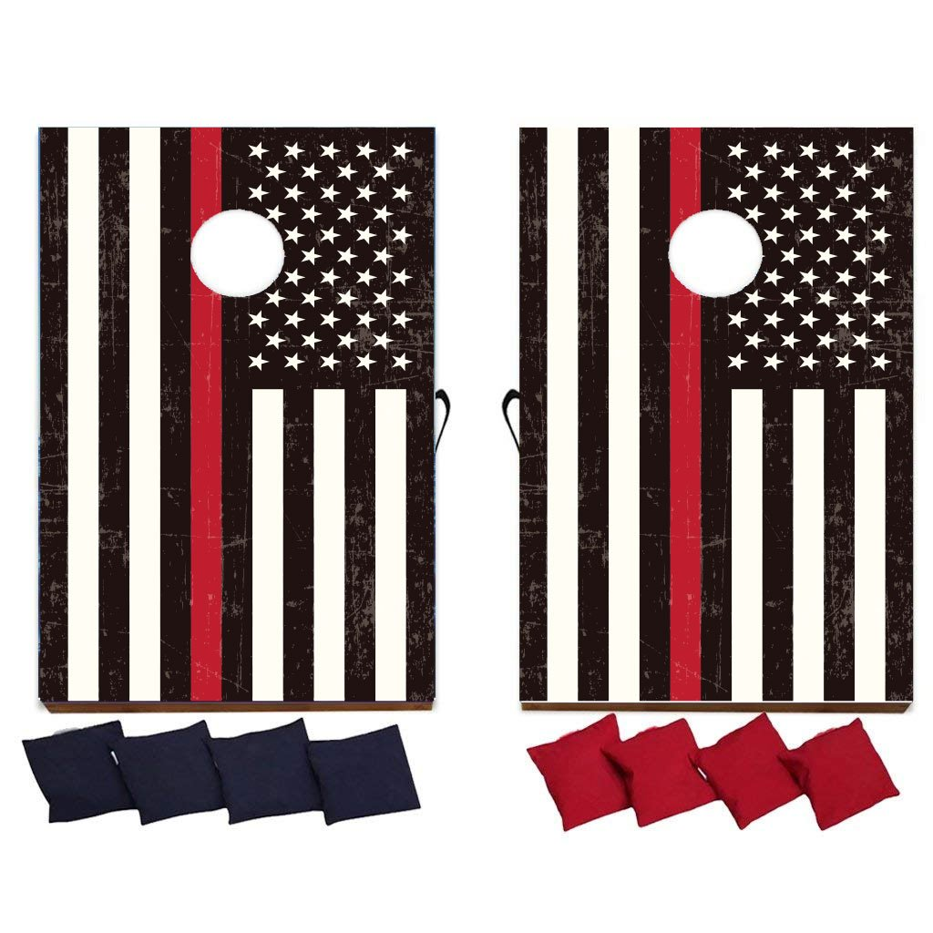 VictoryStore Cornhole Games - Thin Red Line American Flag Cornhole Game - Firefighter Gift Bag Toss Game - 8 Bags Included - Wooden Boards