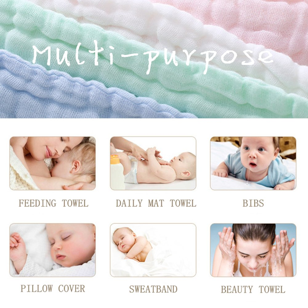 MUKIN Baby Muslin Washcloths - Natural Muslin Cotton Baby Wipes - Soft Newborn Baby Face Towel and Muslin Washcloth for Sensitive Skin- Baby Registry as Shower Gift, 5 Pack 12x12 inches