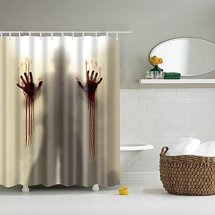 Amazon Doober Creepy Bloody Hands Custom Shower Curtain