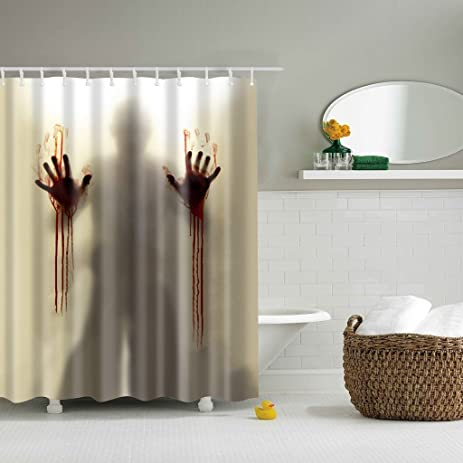Doober Creepy Bloody Hands Custom Shower Curtain Waterproof Bathroom Decor Halloween
