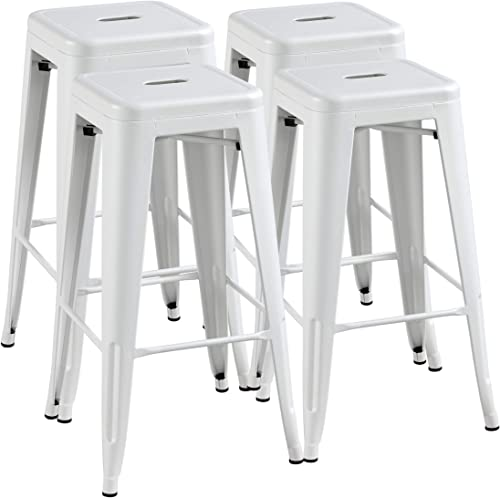Yaheetech 30 inch Metal Bar Stools Bar Height Stools Indoor Outdoor Stackable Barstools Patio Dining Furniture Industrial Backless Stool Chairs Set of 4, White