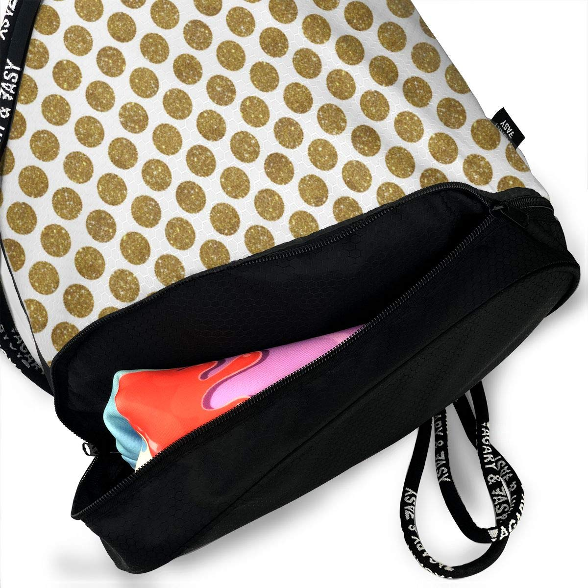 Glitter Dot Gold Drawstring Backpack Sports Athletic Gym Cinch Sack String Storage Bags for Hiking Travel Beach