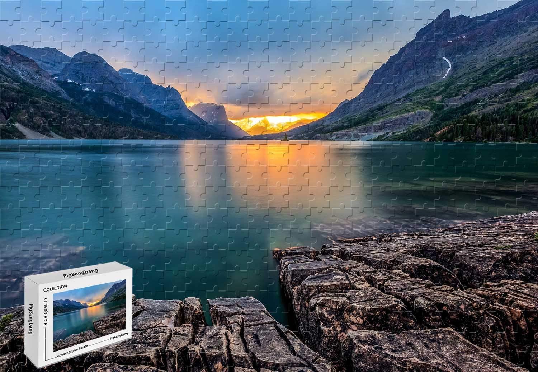 Saint Mary Lake Glacier National Park Montana USA Sunset Mountains Basswood Materials 29.5 X 19.6 Inch 1000 Piece Jigsaw Puzzle