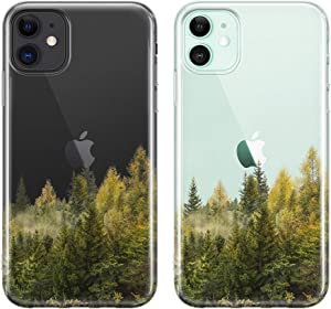 uCOLOR Forest Tree Case for iPhone 11 (6.1 inch) Thin Slim Hybrid Case Hard PC with Soft TPU Bumper Anti-Scratch Protective Crystal Clear Case for iPhone 11 XI 6.1 inch 2019