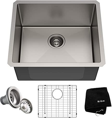 Kraus Khu101 21 Standart Pro 16 Gauge Undermount Single Bowl Set 4 Item Bundle Sink Bottom Grid Drain Assembly Kitchen Towel 21 Inch Stainless Steel Amazon Com