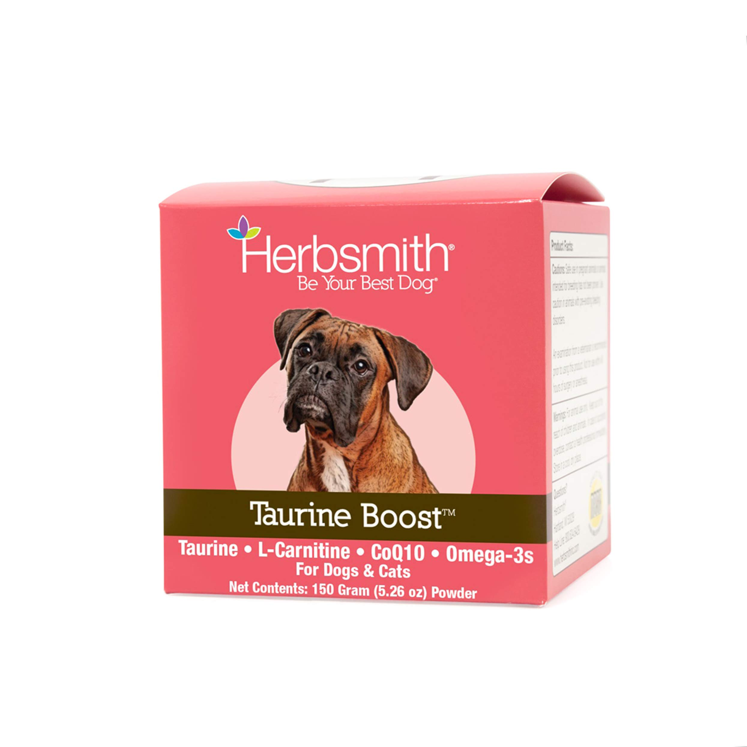 Herbsmith Taurine Boost - Cardiac and Heart Support for Dogs and Cats - Taurine Supplement for Dog and Cat Heart Health - with CoQ10, Taurine and L-Carnitine for Dogs - 150g by Herbsmith