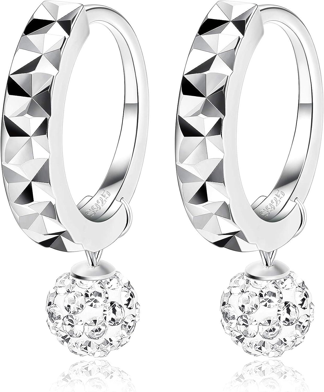 Fiasaso 925 Sterling Silver Crystal Earrings For Women Girls Dangle Dico Ball Drop Earrings Silver Tone