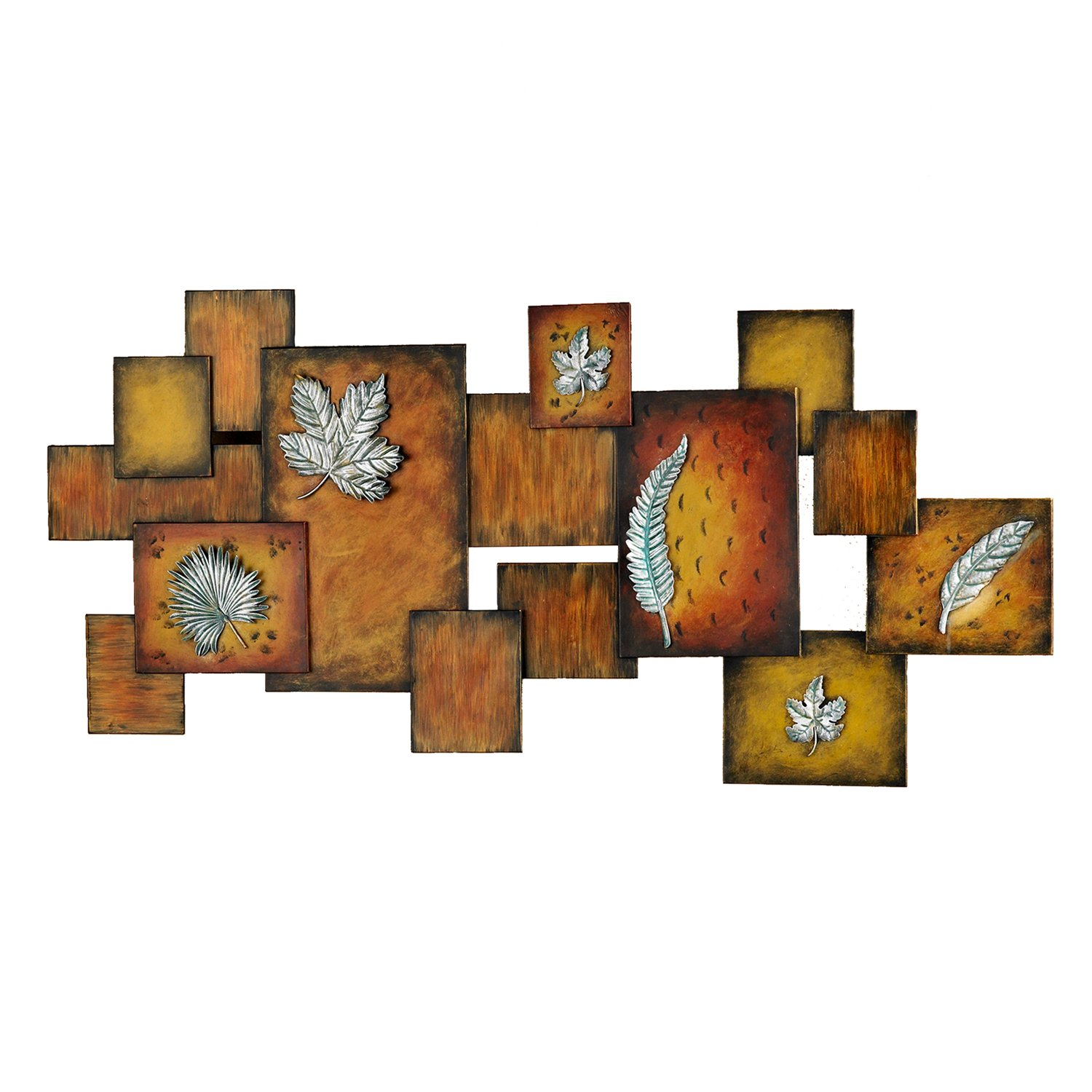 Amazon metal leaves abstract wall art panel home kitchen amipublicfo Image collections