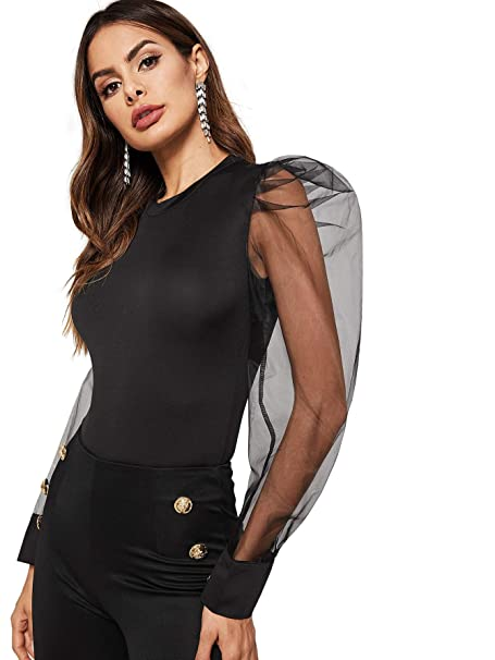 c6736f137bb WDIRARA Women's Fashion Contrast Mesh Long Sleeve Round Neck Skinny Bodysuit