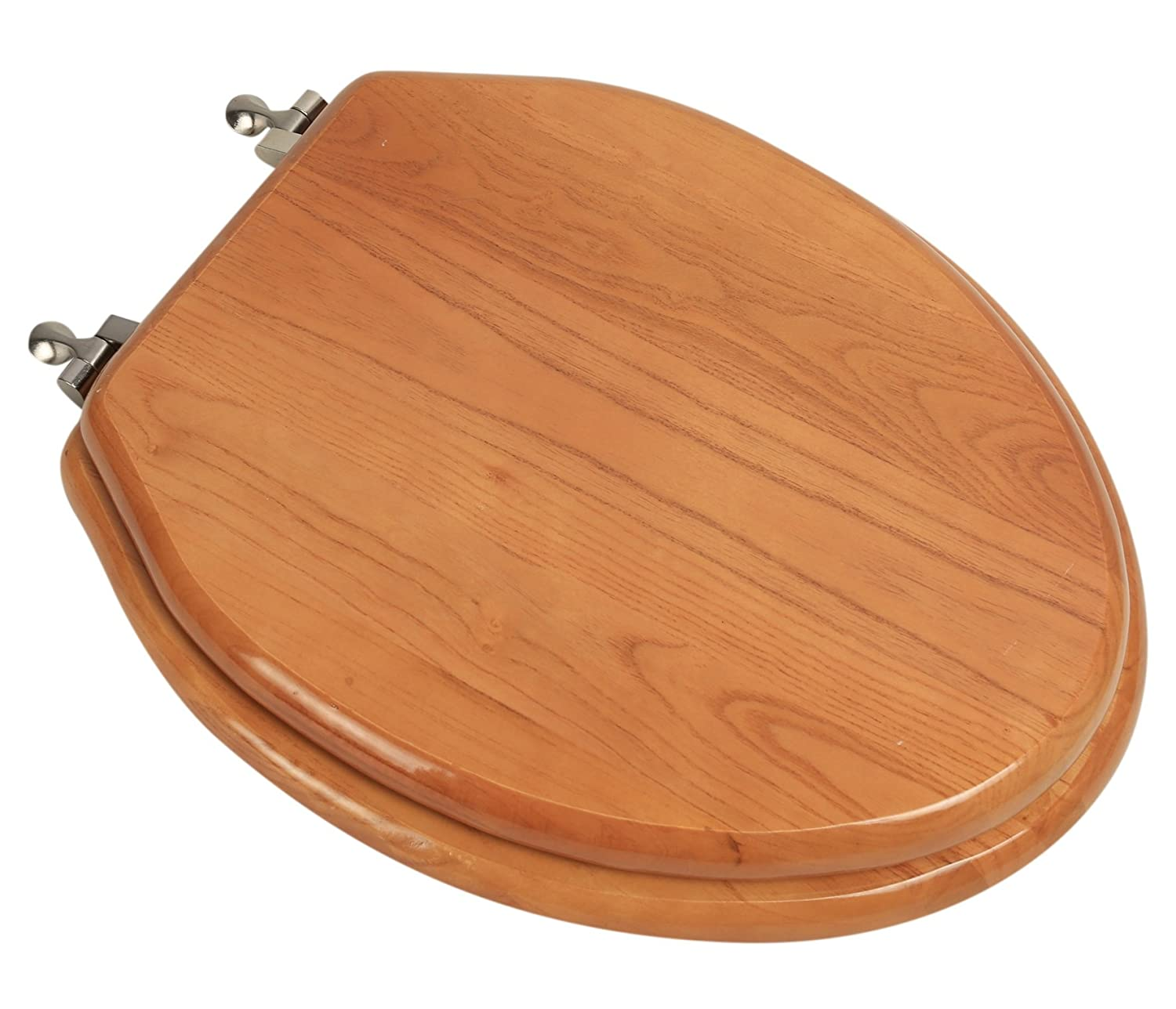 BathDecor 5F1E2-17BN Elongated Toilet Seat in Traditional Design with Brushed Nickel Metal Hinges, Natural Oak Finish