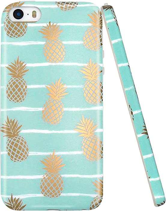 JAHOLAN iPhone 5 Case, iPhone 5S case, Shiny Gold Pineapple Mint Blue Design Clear Bumper TPU Soft Rubber Silicone Cover Phone Case Compatible with iPhone 5 5S