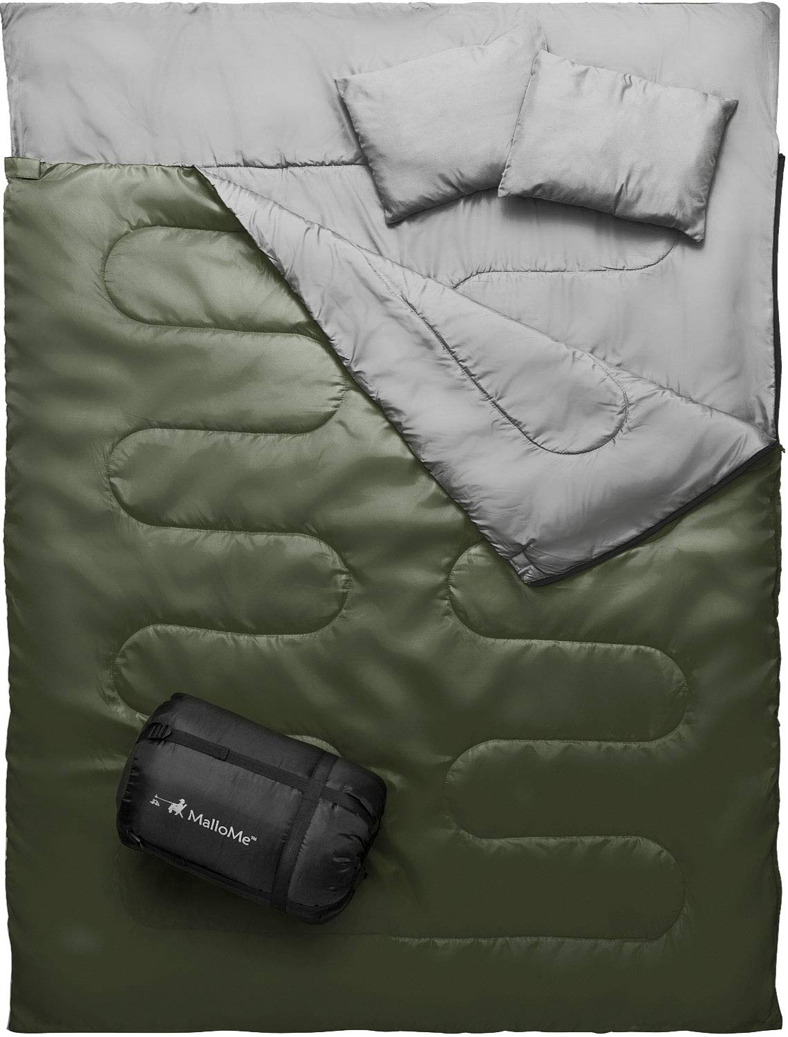 MalloMe Double Camping Sleeping Bag - 3 Season Warm & Cool Weather - Summer, Spring, Fall, Lightweight, Waterproof For Adults & Kids - Camping Gear Equipment, Traveling, and Outdoors - 2 Free Pillows! by MalloMe