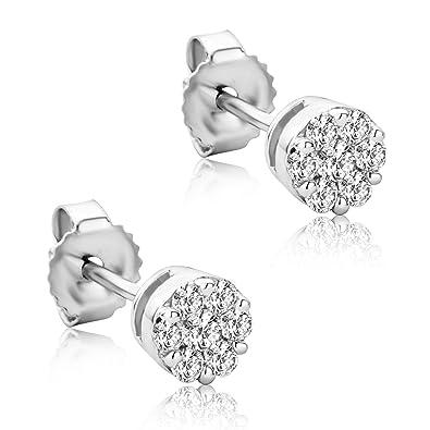 0 2 Bijoux Blanc Avec D'oreilles En Or Diamants Orovi FemmeBoucles nNwX80OPk