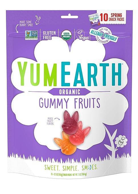 YumEarth Spring Fruit Gummy Snack Packs, 10 Count - Allergy Friendly, Non GMO, Gluten Free, Vegan