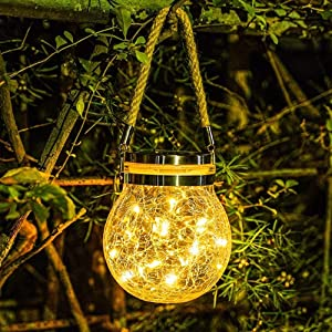 Solar Lantern Outdoor Hanging Solar Light 30led Mason Jar Light Waterproof Solar Table Lamp Crack Glass Globe Garden Light for Patio Yard Party Wedding Christmas Halloween Decoration Light Warm White