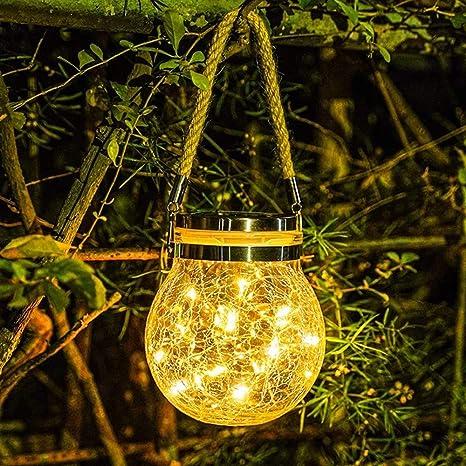 Solar Power LED Hang Light Lantern Outdoor Garden Waterproof Decorative Lamp