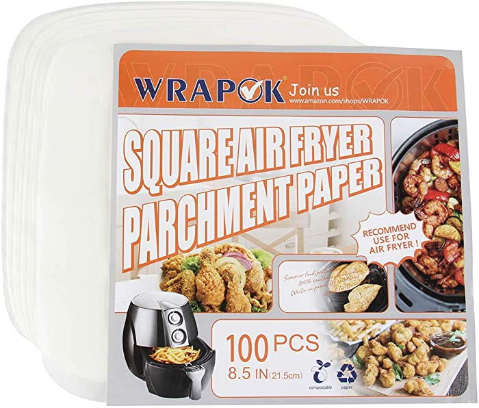 WRAPOK Air Fryer Parchment Paper Liners 8.5 Inch Square Perforated Non-Stick Sheets for Meats, Chips or Cookies - 100 Count