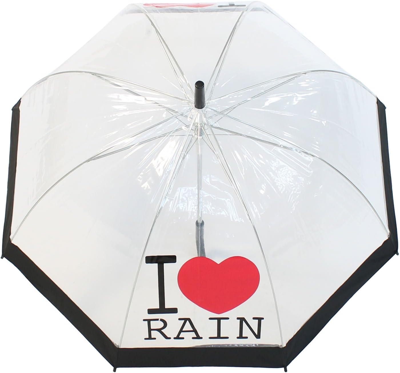 Damen Regenschirm Glockenschirm durchsichtig transparent Automatik I love Rain