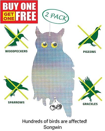 Songwin Bird Repellent Scare Bird Owls-Holographic Reflective Woodpecker,Squirrels&Birds Deterrent,Keep Them