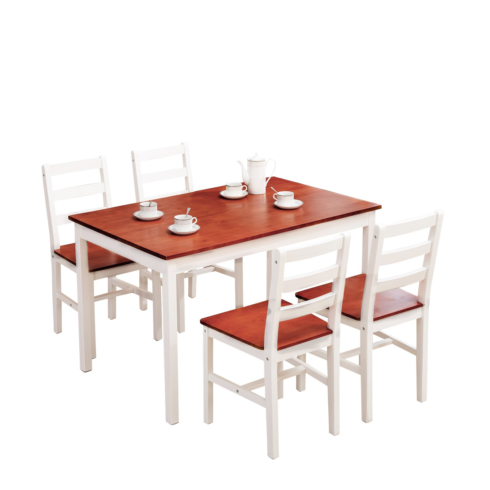 mecor 5 Piece Wood Dining Table Set, Kitchen Table w/ 4 Chairs for Home Kitchen Breakfast Furniture by mecor