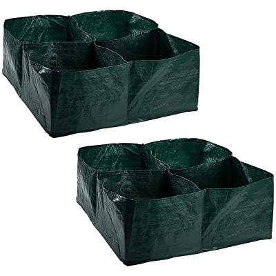 Apipi 2 Pack Raised Garden Planter Fabric Bed, 4 Divided Grids Durable Square Planting Grow Pot for Carrot Onion Herb Flower Vegetable Plants : Garden & Outdoor