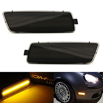 iJDMTOY Smoked Lens Amber Full LED Bumper Side Marker Light Kit Compatible With Volkswagen 2006-2009 MK5 Golf/GTI Rabbit, 2005-2010 Jetta, 2008 R32, 40-SMD LED, Replace OEM Front Sidemarker Lamps: Automotive