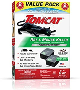 Tomcat 4388404 Rat and Mouse Killer Indoor/Outdoor Use-Child and Dog Resistant Value Pack of 2 Pre-filled Disposable Bait Stations, 2