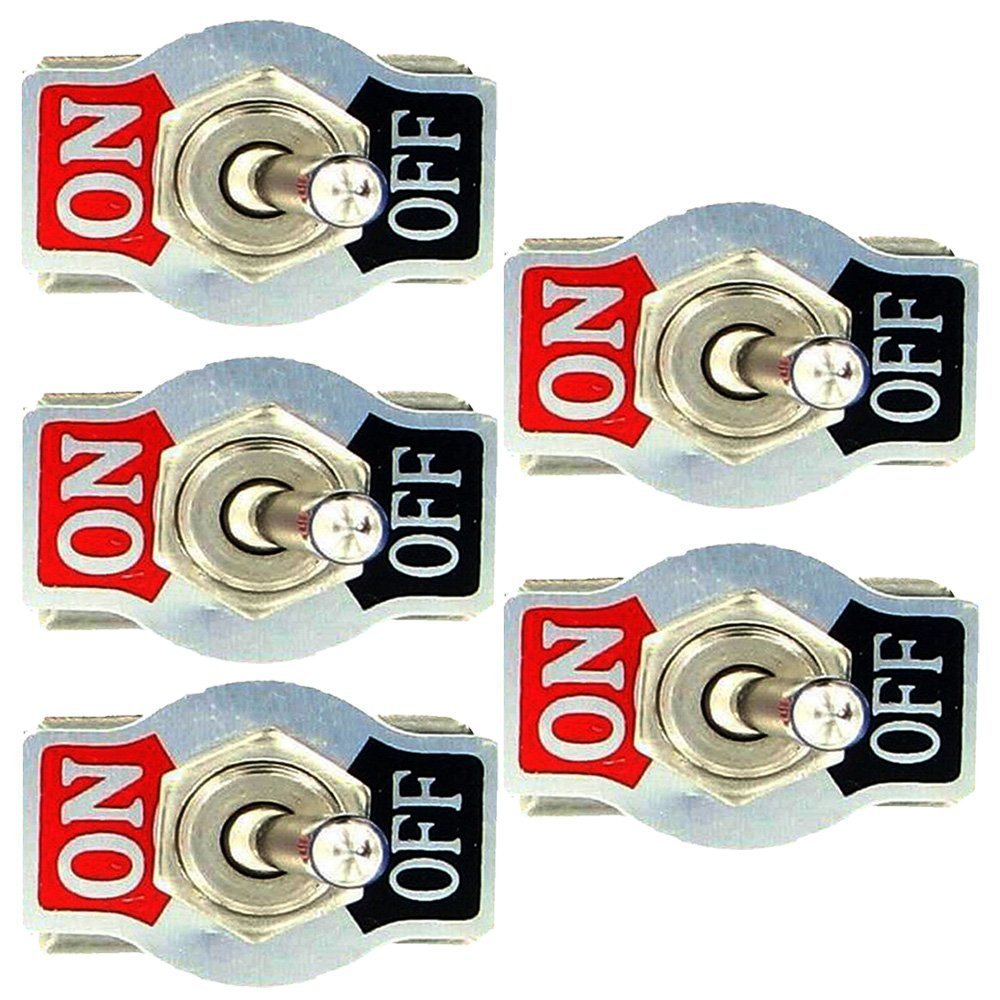 Mintice™ 5 X Interrupteur Inverseur à Bascule Levier en Métal ON/OFF 2 Terminal Pin SPST Poids Lourd 20A 125V 15A 250V Voiture Moto product image