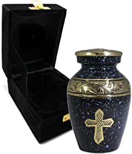 Love of Christ - Black & Gold - Urns for Ashes - Funeral, Burial, Niche or Columbarium Keepsake Cremation Urns for Adult Ashes - 100% Brass - (Small, Black/Gold)