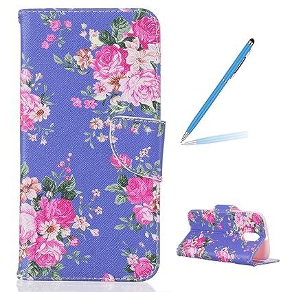 Trumpshop Smartphone Carcasa Funda Protección para Motorola Moto G4 / Moto G4 Plus + flores de Rose + PU Cuero Caja Protector Billetera con Cierre ...