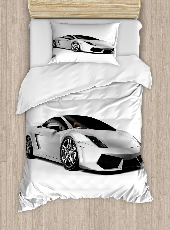 Lunarable Boy's Room Duvet Cover Set Twin Size, Sports Car Elegance with Futuristic Wheels Reflection Design Artful Print, Decorative 2 Piece Bedding Set with 1 Pillow Sham, Silver Grey Black
