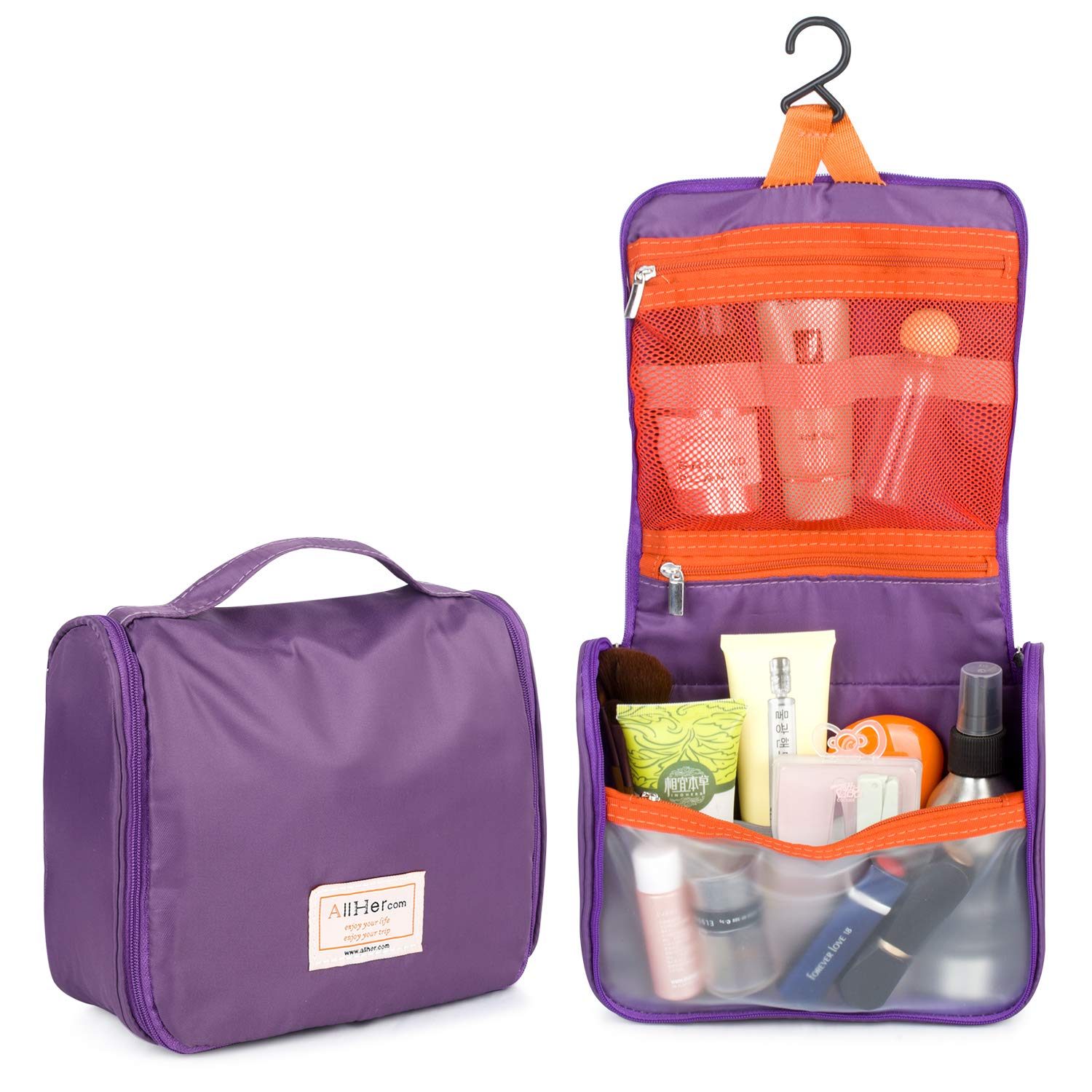 Hanging Travel Toiletry Bag for Women, Bathroom Toiletries Organizer, Folded Wash Bag, Roll up Cosmetic Make up Bag for Girl, Bonus 1PC Travel Packing Cube
