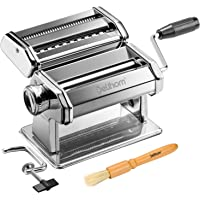 Delihom Pasta Maker Machine-Stainless Steel Noodle Making Machine Includes Pasta Roller, Cutter, Hand Crank, Clamp and Clean Brush for Homemade Spaghetti and Fettuccini