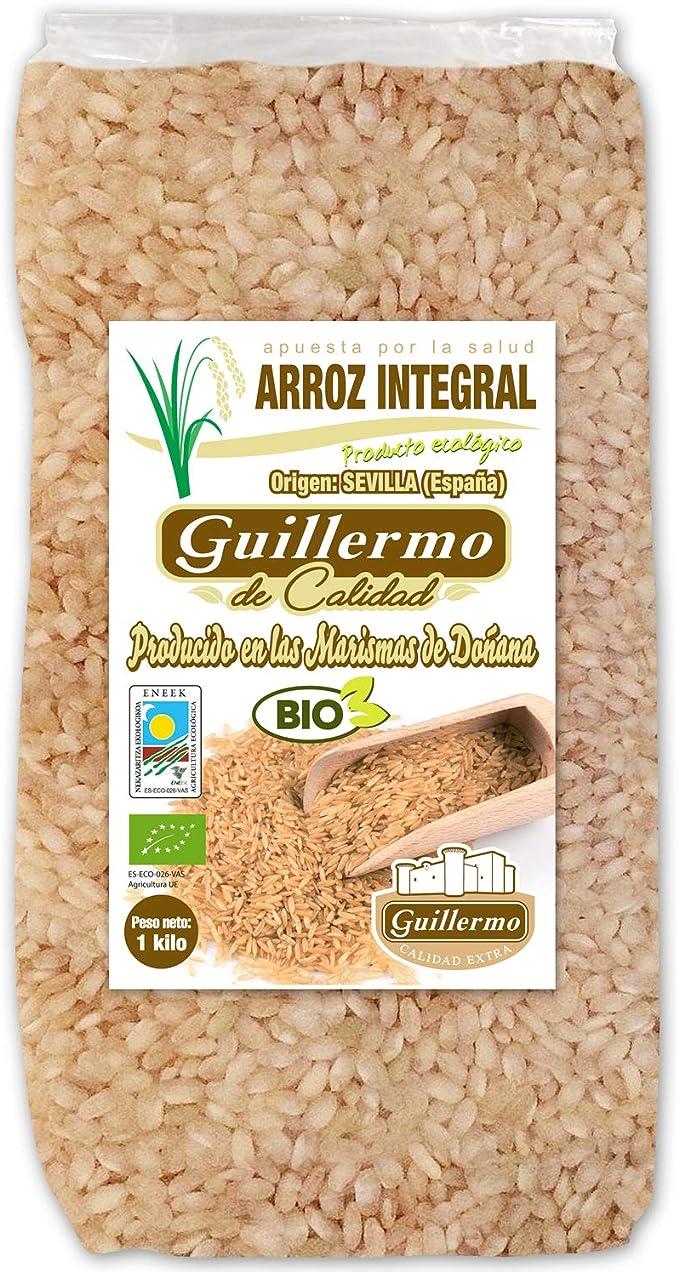 Guillermo Arroz Integral Redondo Ecológico BIO Marisma de Doñana para paellas y risottos 100% Natural 1000gr: Amazon.es: Alimentación y bebidas