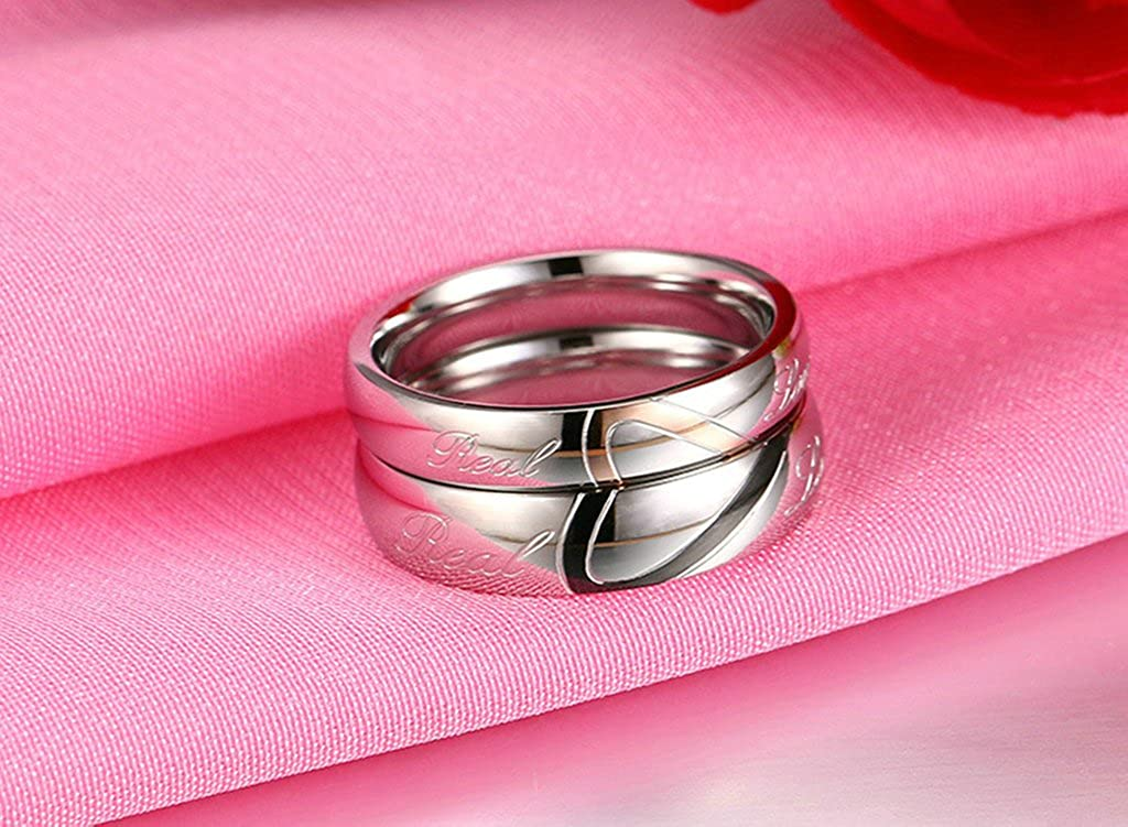 Puzzle Heart Engraved Real Love Wedding Rings for Women Size 11 Epinki Stainless Steel Ring