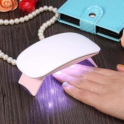 Mini Secador de Uñas LED 6 W Lámpara de Uñas UV Forma de Ratón Máquina de