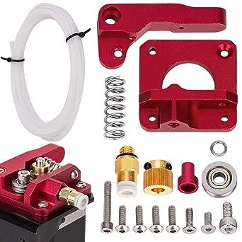 LUTER Aluminio Impresora 3D MK-8 Kit de unidad de alimentación del extrusor y tubo PEFT de tubo de teflón blanco (1 metro) para Makerbot Creality ...