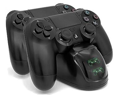 MyGadget Estación de Carga horizontal para Control estándar PS4 con LED status - Doble soporte de Cargador para 2x Sony PlayStation 4 Dualshock - ...