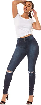 AP Blue Aphrodite High Waisted Jeans for Women - High Rise Skinny Womens Hand Distressed Ripped Jeans