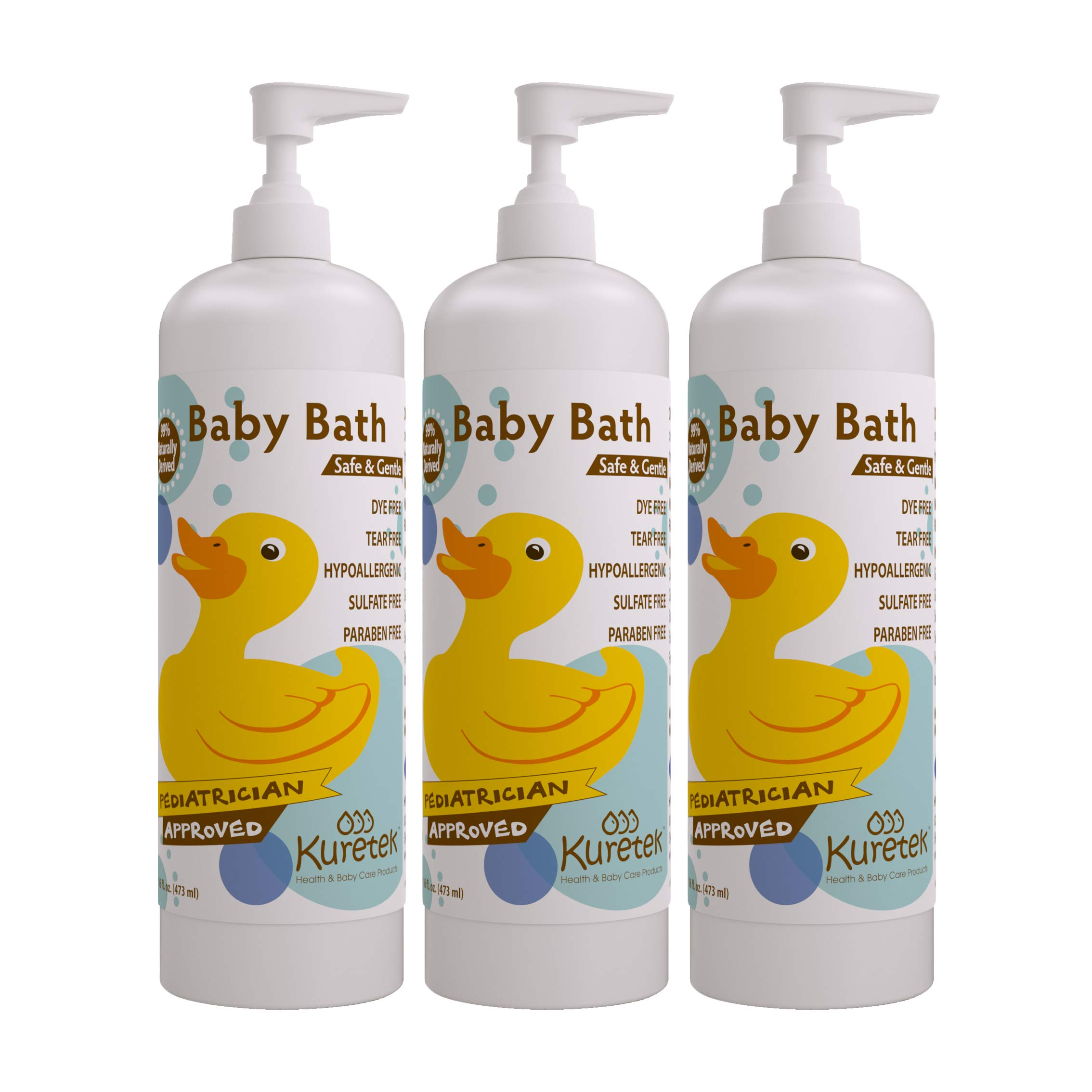 Kuretek Safe & Gentle Baby Bath, Pediatrician Approved, Hypoallergenic, Tear-Free, 16 ounces (3-pack) by Kuretek