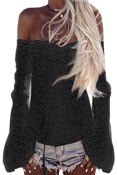 Mupoduvos La Mujer Casual Encaje del Hombro Manga De Campana del Hueco Blusa Holgada Camiseta Top Tee: Amazon.es: Ropa y accesorios