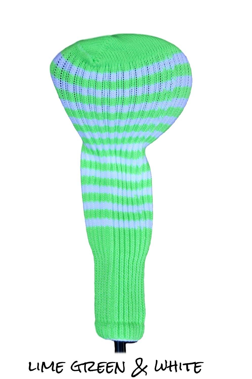 グリーンクラブSockゴルフヘッドカバー3  Lime Green & White B075KPBNT8