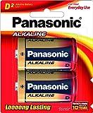 Panasonic Battery Alkaline LR20T/2B D-Size LR20 Battery - Pack of 2 (Multicolor)