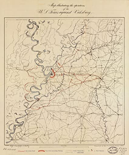 Amazoncom 1863 Map Illustrating The Operations Of Us Forces - Vicksburg-on-us-map