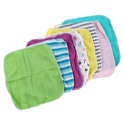SODIAL Toalla de cara de bebe Toallas de mano Pano de lavado de algodon 8pcs /