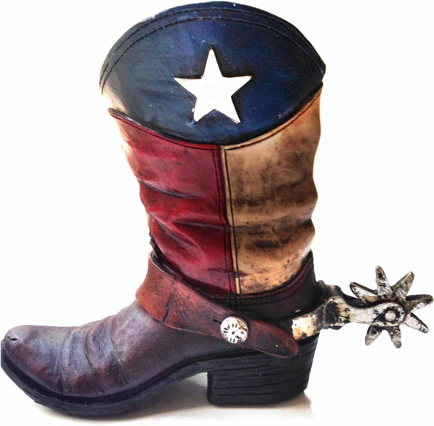 Texas Lone Star Cowboy Boot with Spur Piggy Bank for Western Decor