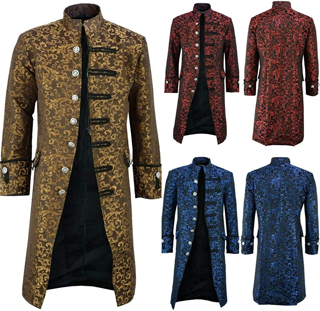 Axchongery Mens Steampunk Victorain Frock Coat Formal Tuxedo Tailcoat Mens Vintage Gothic Jacket