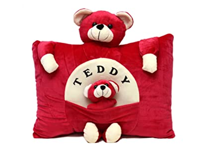 PRACHI TOYS Plush Stuffed Soft Toy Teddy Bear Pillow Kids / Baby Cushion (Red)