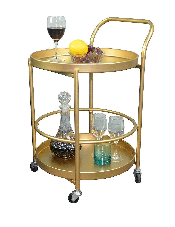 Aojezor Serving Cart,Side End Sofa Table,Shelf Organizer Roller Coaster,Bathroom Storage Utility,Circle Wine bar,Cocktail w/4 Wheels,Modern Design for Home Decor/Living Room/Kitchen,Gold