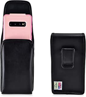 product image for Turtleback Holster Designed for Galaxy S10+ Plus Fits with OTTERBOX Commuter, Vertical Belt Case Black Leather Pouch with Executive Belt Clip, Made in USA